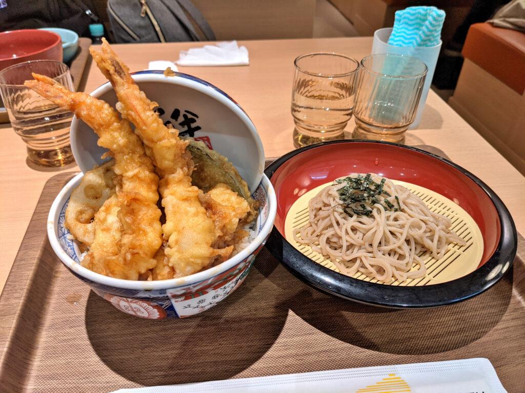 上天丼と日本そばセット